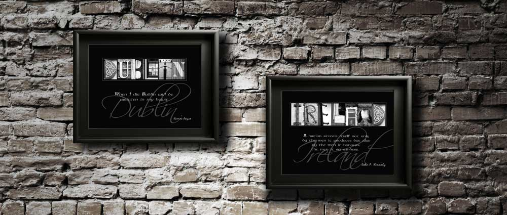 DUBLIN IRELAND Letter Art Famous Quote Irish Tourist Coutries Cities Gift