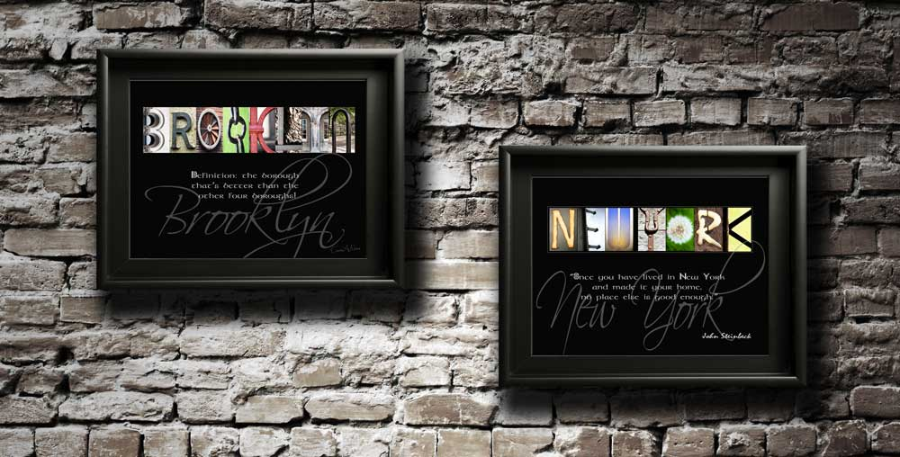 BROOKLYN NEW YORK Letter Art Inspirational Quote Tourist Coutries Cities Gift