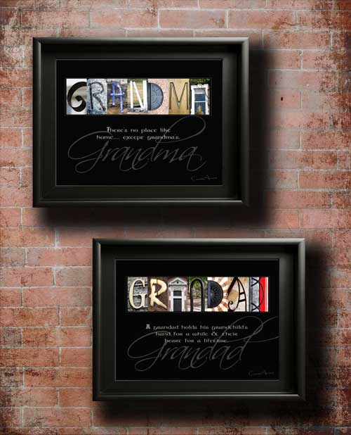 Grandma & Gradad Mother's Father's Day Xmas Birthday Thanksgiving Alphabet Art Quotes Grandparent Parents Gifts