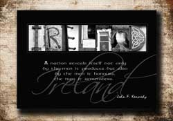 Personalized Ireland Letter Art, Ireland Quote, Famous Quote, Ireland Quote, Ireland Alphabet Photography, Ireland Gift, John F. Kennedy Quote Ireland