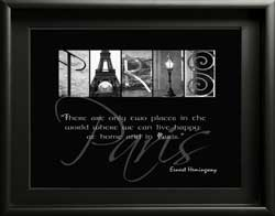 Paris Letter Art Famous Quote Paris Alphabet Photography  Ernest Hemingway Quote Paris Digital Download DIY Gift