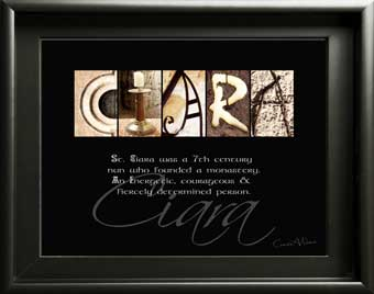 Alphabet Photography Baby First Name Meaning girl Saint St Maria Ciara Mary Sarah Margret Gift