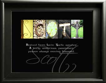 Baby Name Meaning boy Scott letter art Alphabet Photography, What does my name mean Gift