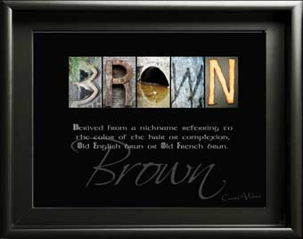 Brown Scotish Ancestry surname origin name meaning alphabet Art What does Ryland Sherwin spicer mean? gift