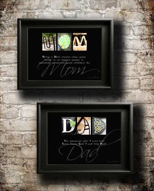 Mom & Dad Mum Papa Mama Mother's Father's Day Xmas Birthday Thanksgiving Alphabet Art Quotes Parents Gifts